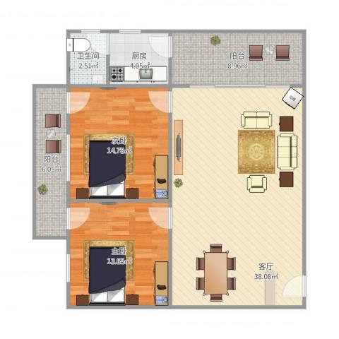康盈雅苑8F2室1厅1卫1厨117.00㎡户型图