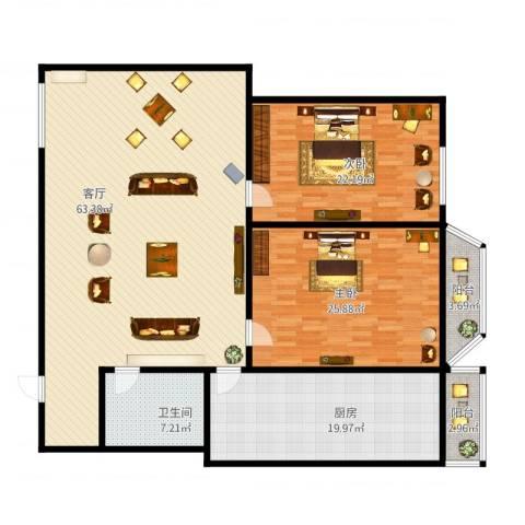 天通苑本四区2室1厅1卫1厨197.00㎡户型图