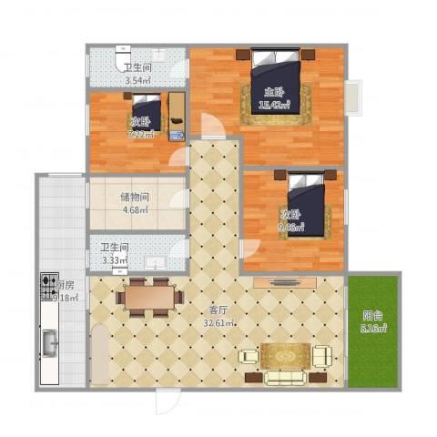 雅居豪庭3室1厅2卫1厨122.00㎡户型图