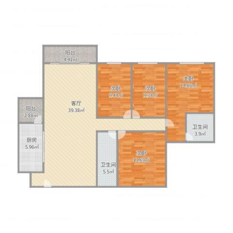 康格斯花园4室1厅2卫1厨148.00㎡户型图