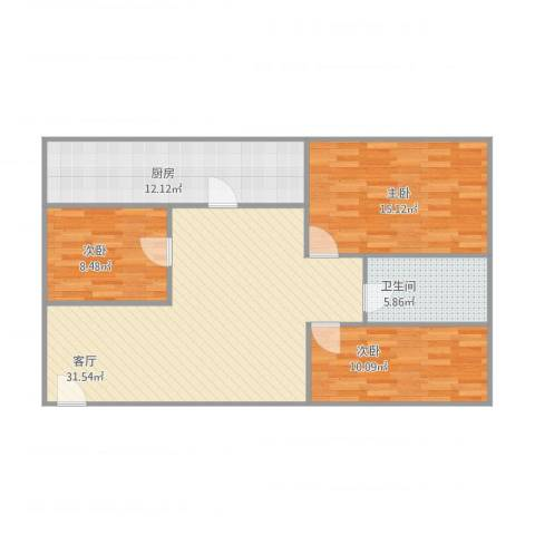 金沙新城3室1厅1卫1厨111.00㎡户型图