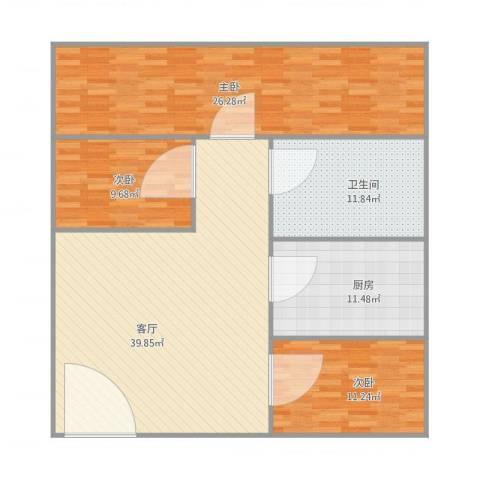 同济广场3室1厅1卫1厨146.00㎡户型图