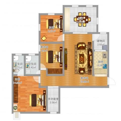 云立方2室1厅2卫1厨123.00㎡户型图