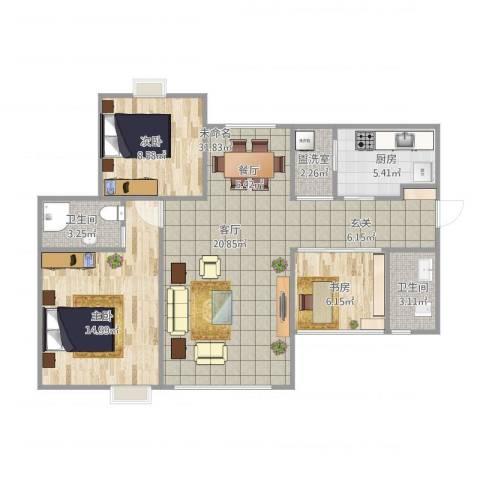 都海龙湾3室1厅2卫1厨102.00㎡户型图