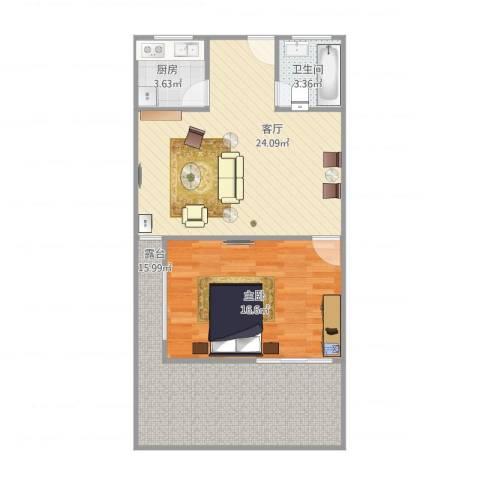 艾山新村1室1厅1卫1厨86.00㎡户型图