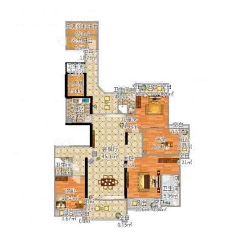 雅居乐滨江国际4室1厅4卫1厨231.00㎡户型图