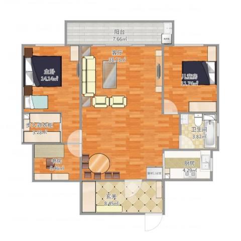 合兴龙柏公寓3室1厅1卫1厨131.00㎡户型图