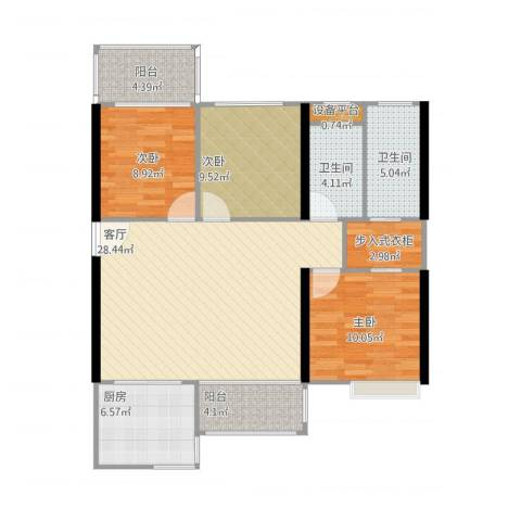 中骏蓝湾悦庭3室1厅2卫1厨117.00㎡户型图