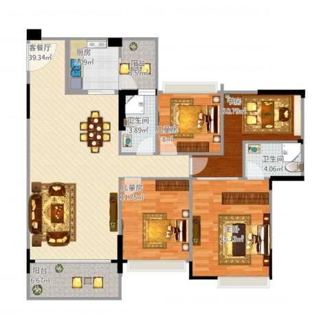 九洲花园12-034室1厅2卫1厨149.00㎡户型图