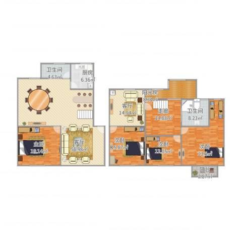 锦河苑4室2厅2卫1厨252.00㎡户型图