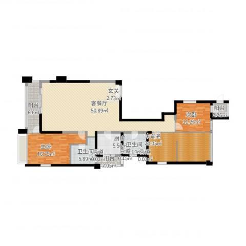 御翠天�2室1厅2卫1厨180.00㎡户型图