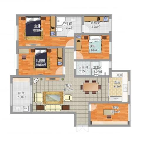 金鹰国际公馆4室1厅3卫1厨168.00㎡户型图