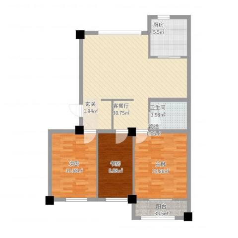 高新・锦绣北山3室1厅1卫1厨110.00㎡户型图