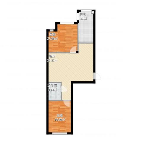 丽晶公馆2室1厅1卫1厨77.00㎡户型图