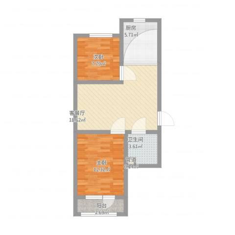 丰华颐和村2室1厅1卫1厨75.00㎡户型图