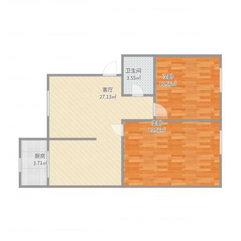 工商银行宿舍2室1厅1卫1厨89.00㎡户型图