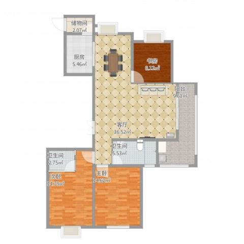 香港城3室1厅2卫1厨140.00㎡户型图