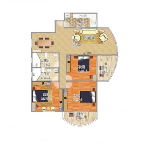 东方威尼斯3室1厅2卫1厨173.00㎡户型图