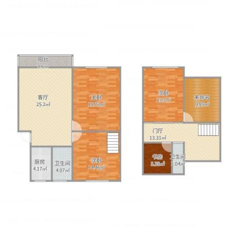 梅花山庄4室1厅2卫1厨154.00㎡户型图