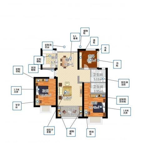 方城宇信凯旋城-中央公馆3室1厅2卫1厨141.00㎡户型图