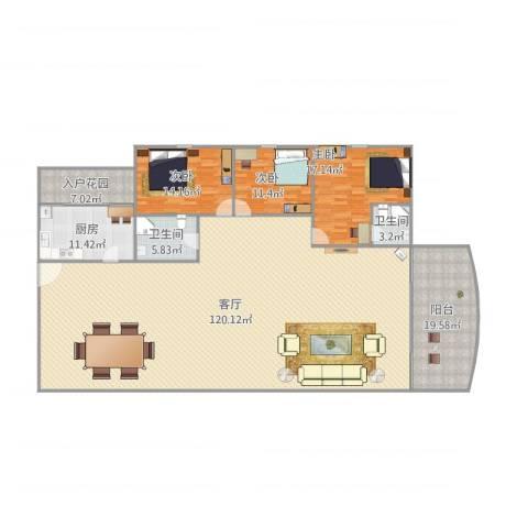 嘉禾新城3室1厅2卫1厨275.00㎡户型图