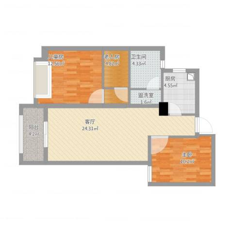 湖畔现代城3室2厅1卫1厨97.00㎡户型图