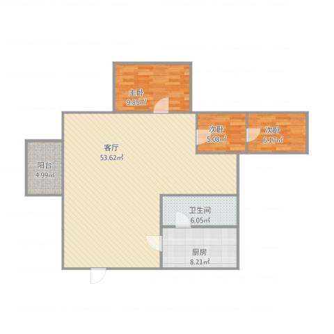 名汇大厦3室1厅1卫1厨125.00㎡户型图
