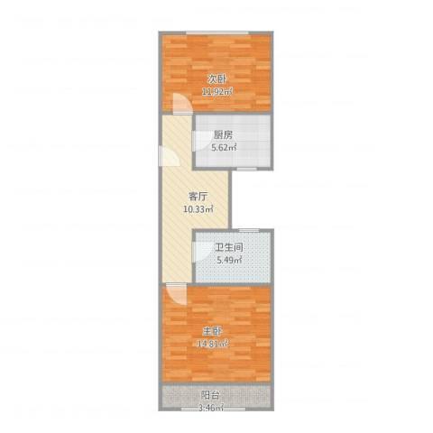 开鲁六村20号2室1厅1卫1厨56.29㎡户型图