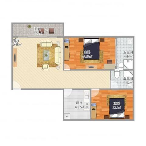碧湖花园2室1厅2卫1厨103.00㎡户型图