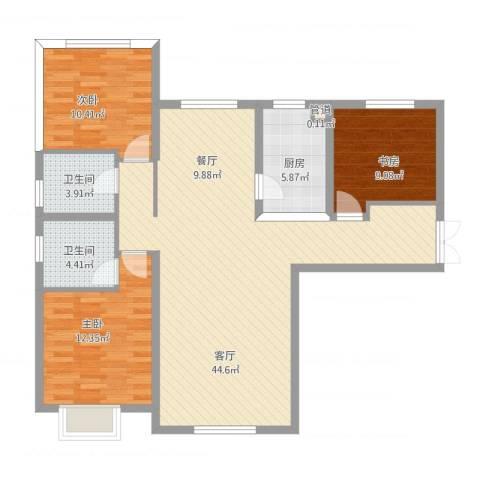 五矿榕园旷世公馆3室1厅2卫1厨128.00㎡户型图