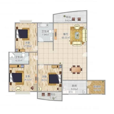 金领广场3室1厅2卫1厨220.00㎡户型图
