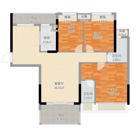 格林春天3室1厅2卫1厨142.00㎡户型图