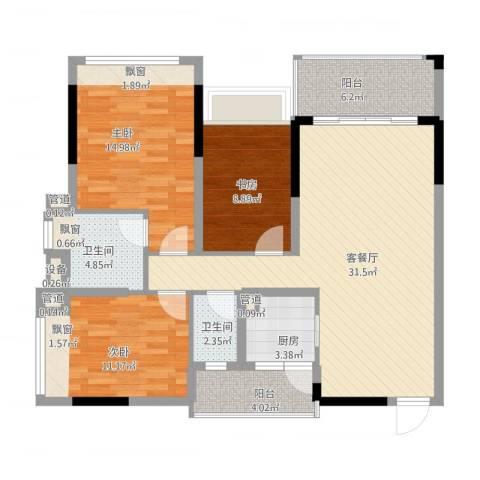 格林春天3室1厅2卫1厨126.00㎡户型图