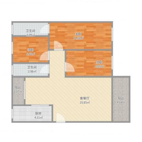 尚景苑3室1厅2卫1厨94.00㎡户型图