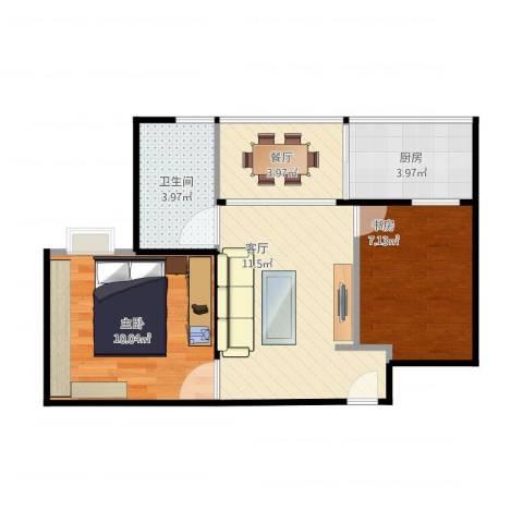 凤祥园2室2厅1卫1厨56.00㎡户型图
