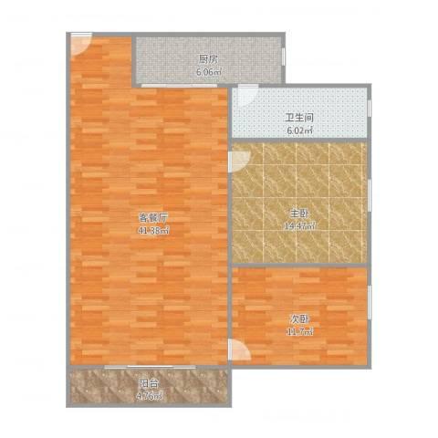 绿茵花园2室1厅1卫1厨112.00㎡户型图
