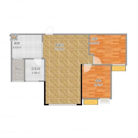 兆甲合阳新城2室1厅1卫1厨81.00㎡户型图