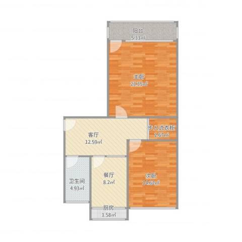 洪楼小区2室2厅1卫1厨99.00㎡户型图