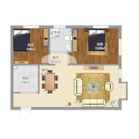 东亚・五环国际2室1厅1卫1厨85.00㎡户型图