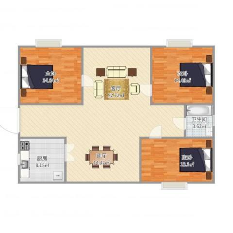 鹏海小区3室1厅1卫1厨141.00㎡户型图