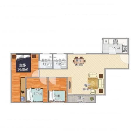 金海花园3室1厅2卫1厨100.00㎡户型图