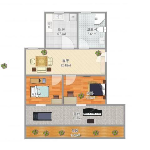 东陆新村四街坊2室1厅1卫1厨76.00㎡户型图