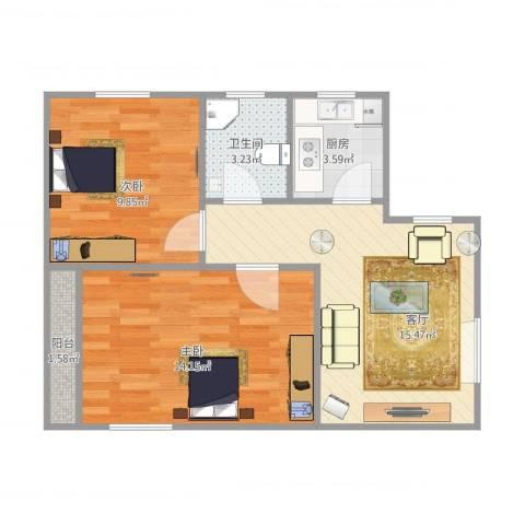 凤城三村2室1厅1卫1厨65.00㎡户型图