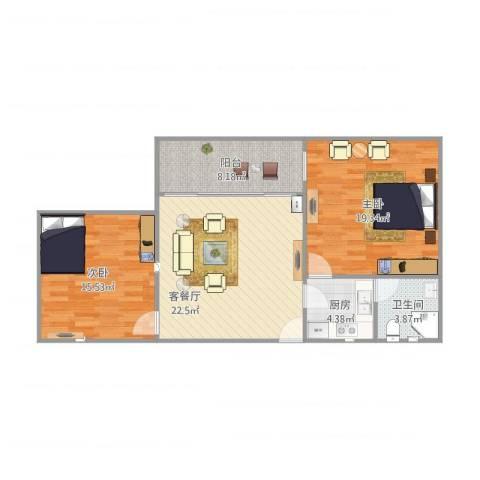 文昌花苑2室1厅1卫1厨99.00㎡户型图