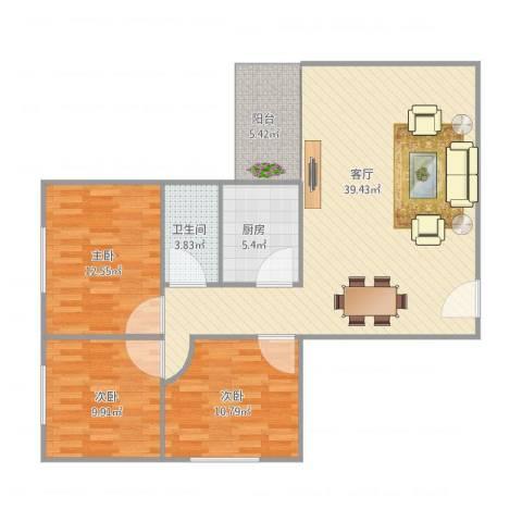 世纪华都3室1厅1卫1厨116.00㎡户型图