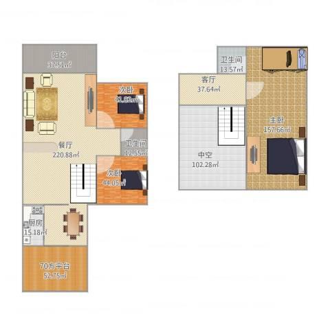 愉翠雅园3室2厅2卫1厨946.00㎡户型图