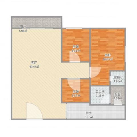 东方广场3室1厅2卫1厨138.00㎡户型图
