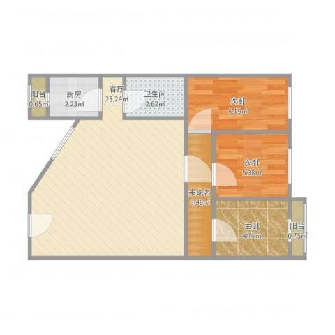 滨河西里北区94三居3室1厅1卫1厨68.00㎡户型图
