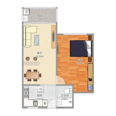 临沂三村1室1厅1卫1厨60.00㎡户型图