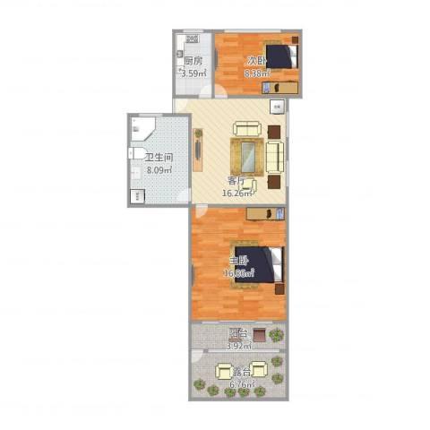 共和三村2室1厅1卫1厨86.00㎡户型图
